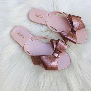 Melissa Girls Pink Bow Sandals Flip Flops